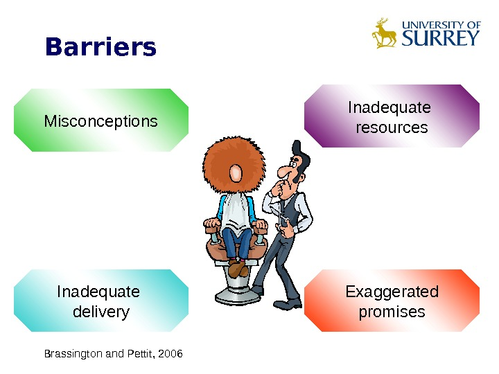 Barriers Misconceptions Inadequate resources Inadequate delivery Exaggerated promises Brassington and Pettit, 2006