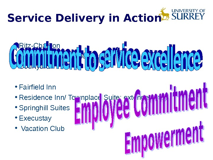 Service Delivery in Action • Ritz-Charlton • Marriott / Renaissance  • Courtyard • Fairfield Inn