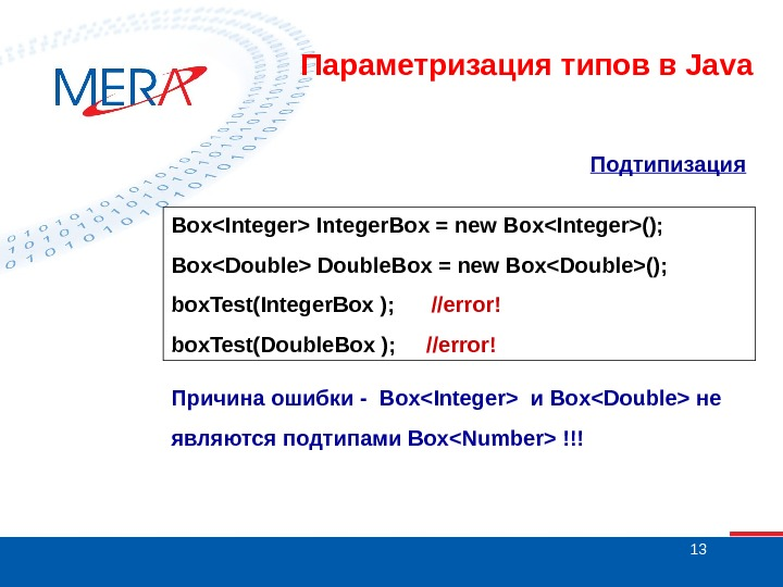 13 Подтипизация  BoxInteger Integer. Box = new BoxInteger(); BoxDouble Double. Box = new BoxDouble(); box.