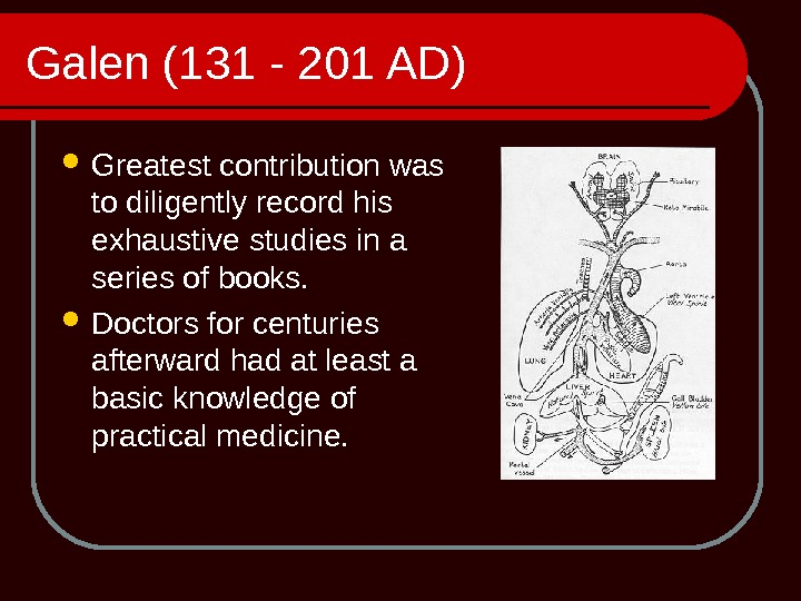Galen (131 - 201 AD)  Greatest contribution was to diligently record his exhaustive studies in