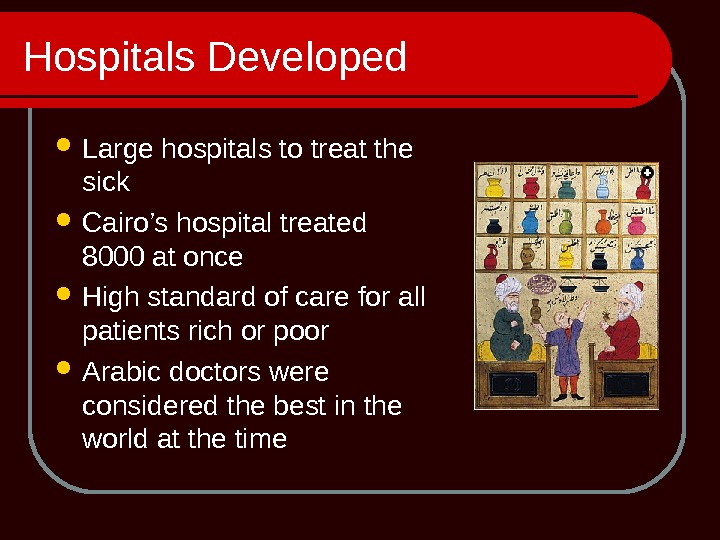 Hospitals Developed Large hospitals to treat the sick Cairo's hospital treated 8000 at once High standard