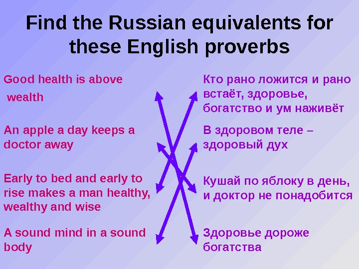 Find the Russian equivalents for these English proverbs Good health is above wealth Кто рано ложится