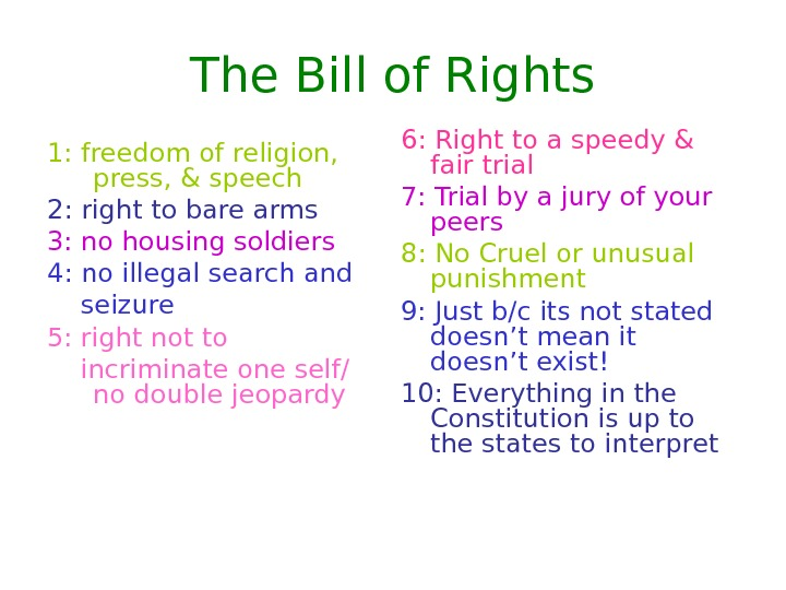 The Bill of Rights 1: freedom of religion,  press, & speech 2: right