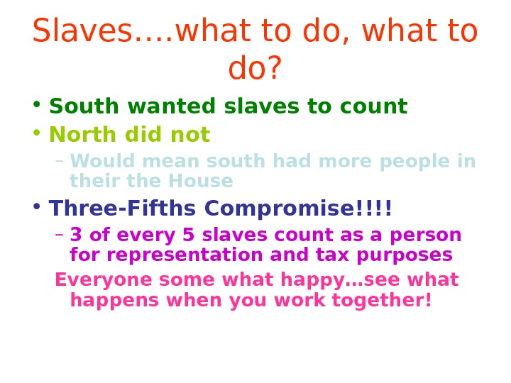 Slaves…. what to do, what to do?  • South wanted slaves to count