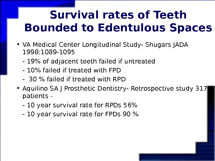 Survival rates of Teeth Bounded to Edentulous Spaces • VA Medical Center Longitudinal Study-