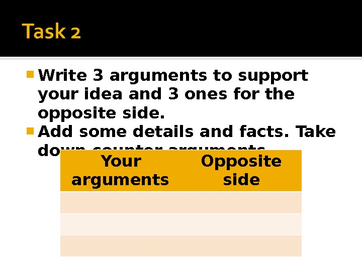 Write 3 arguments to support your idea and 3 ones for the opposite side.