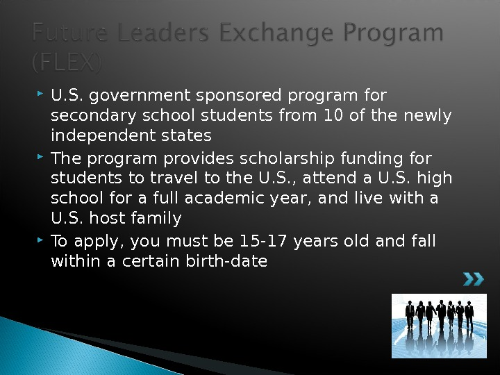 U. S. government sponsored program for secondary school students from 10 of the newly independent