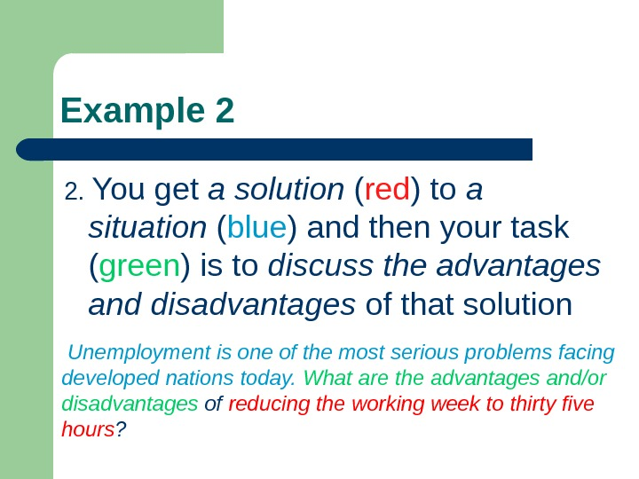 Example 2 2.  You get a  solution  ( red ) to