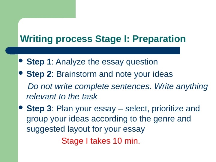 Writing process Stage I: Preparation Step 1 : Analyze the essay question Step 2