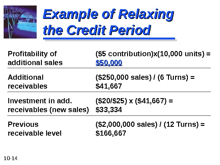 10 - 14 Example of Relaxing the Credit Period Profitability of ($5 contribution)x(10, 000 units) =