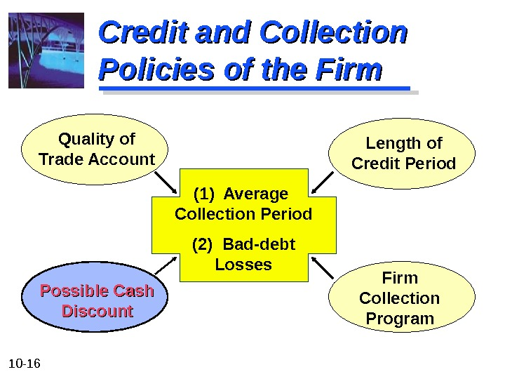 10 - 16 Credit and Collection Policies of the Firm (1) Average Collection Period (2) Bad-debt