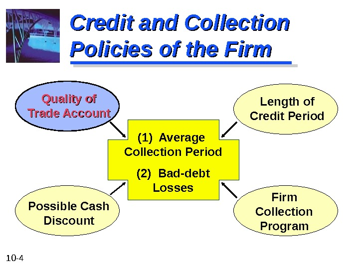 10 - 4 Credit and Collection Policies of the Firm (1) Average Collection Period (2) Bad-debt
