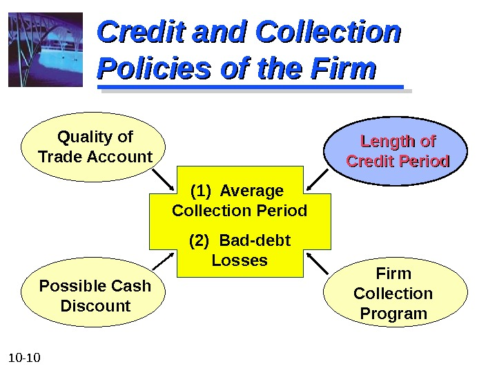 10 - 10 Credit and Collection Policies of the Firm (1) Average Collection Period (2) Bad-debt