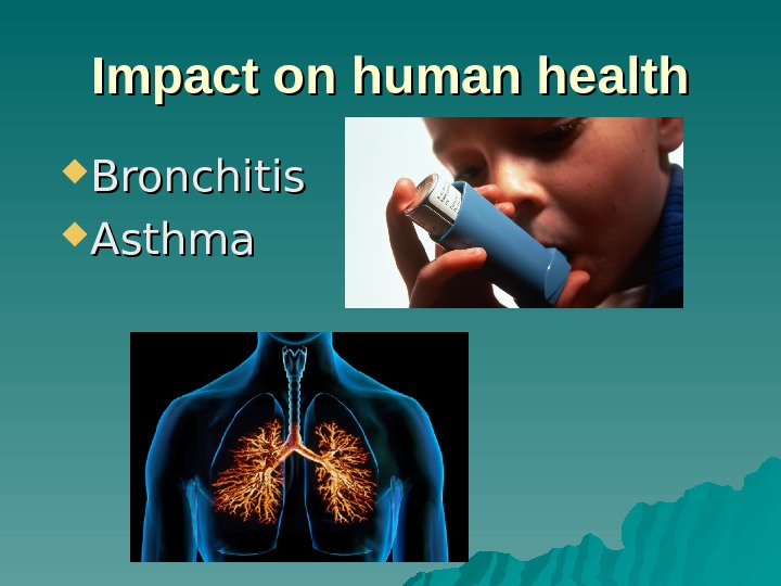 II mpact on human health Bronchitis Asthma