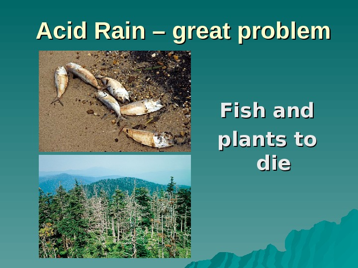 Acid Rain – great problem Fish and plants to diedie