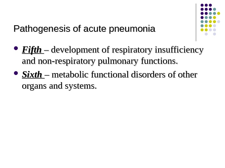 Pathogenesis of acute pneumonia Fifth  – – development of respiratory insufficiency and non-respiratory pulmonary functions.
