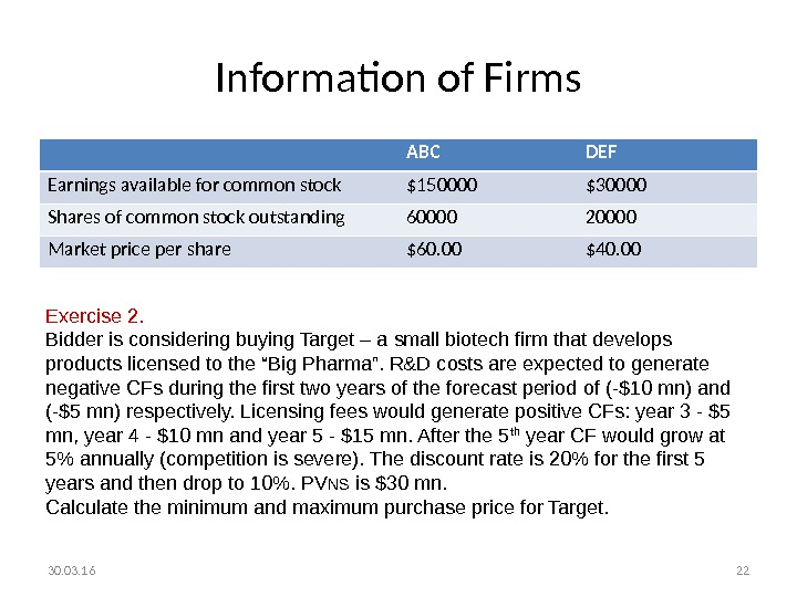 Information of Firms ABC DEF Earnings available for common stock $150000 $30000 Shares of common stock