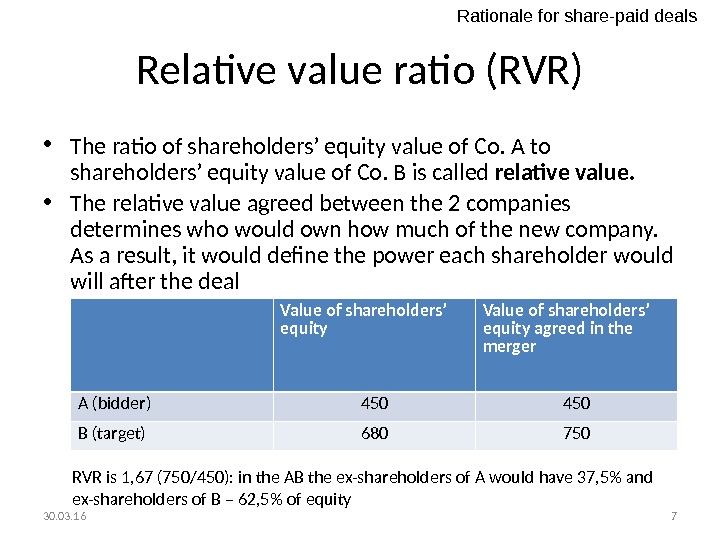 Relative value ratio (RVR) • The ratio of shareholders' equity value of Co. A to shareholders'