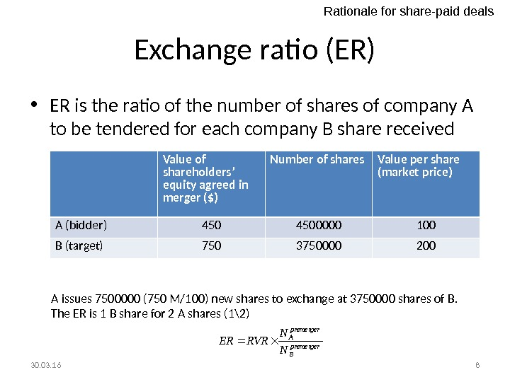 Exchange ratio (ER) • ER is the ratio of the number of shares of company A