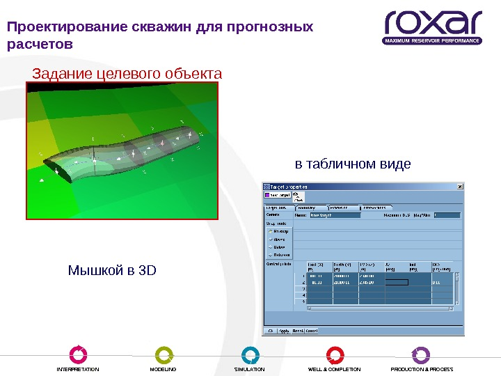 INTERPRETATION MODELING SIMULATION WELL & COMPLETION PRODUCTION & PROCESSЗадание целевого объекта Мышкой в 3 D в