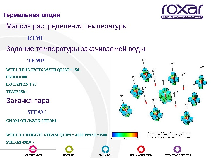 INTERPRETATION MODELING SIMULATION WELL & COMPLETION PRODUCTION & PROCESSМассив распределения температуры RTMI Задание температуры закачиваемой воды