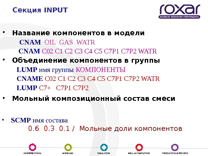 INTERPRETATION MODELING SIMULATION WELL & COMPLETION PRODUCTION & PROCESSСекция INPUT • Название компонентов в модели