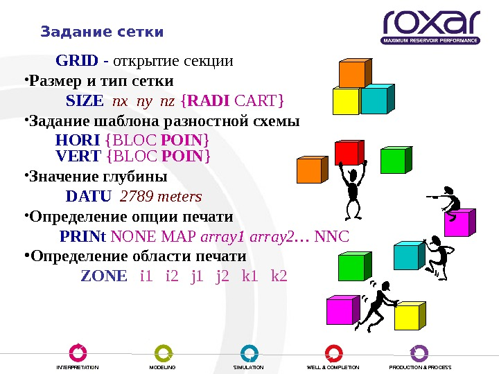 INTERPRETATION MODELING SIMULATION WELL & COMPLETION PRODUCTION & PROCESSЗадание сетки GRID -  открытие секции •
