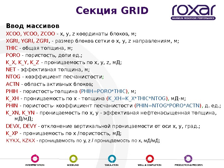 INTERPRETATION MODELING SIMULATION WELL & COMPLETION PRODUCTION & PROCESSCекция GRID Ввод массивов XCOO, YCOO, ZCOO -