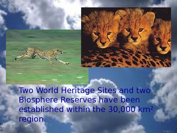 Two World Heritage Sites and two Biosphere Reserves have been established within the 30,