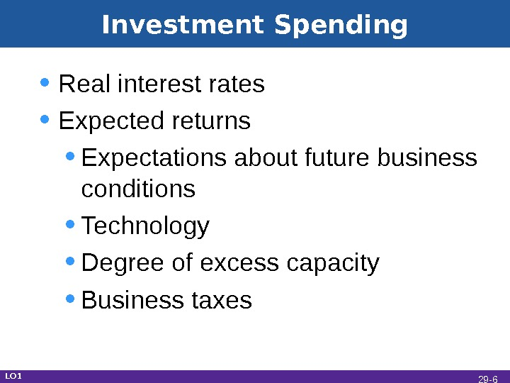 Investment Spending • Real interest rates • Expected returns • Expectations about future business conditions •