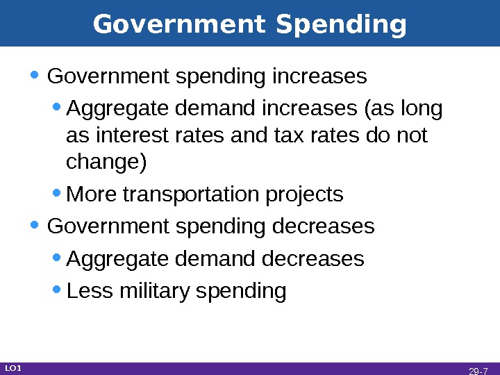 Government Spending • Government spending increases • Aggregate demand increases (as long as interest rates and