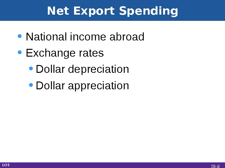 Net Export Spending • National income abroad • Exchange rates • Dollar depreciation • Dollar appreciation