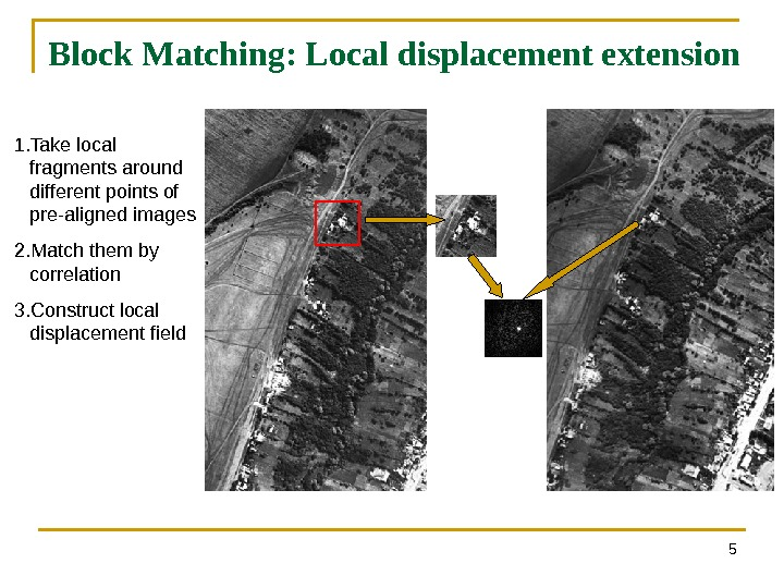 Block Matching: Local displacement extension 51. Take local fragments around different points of pre-aligned images 2.