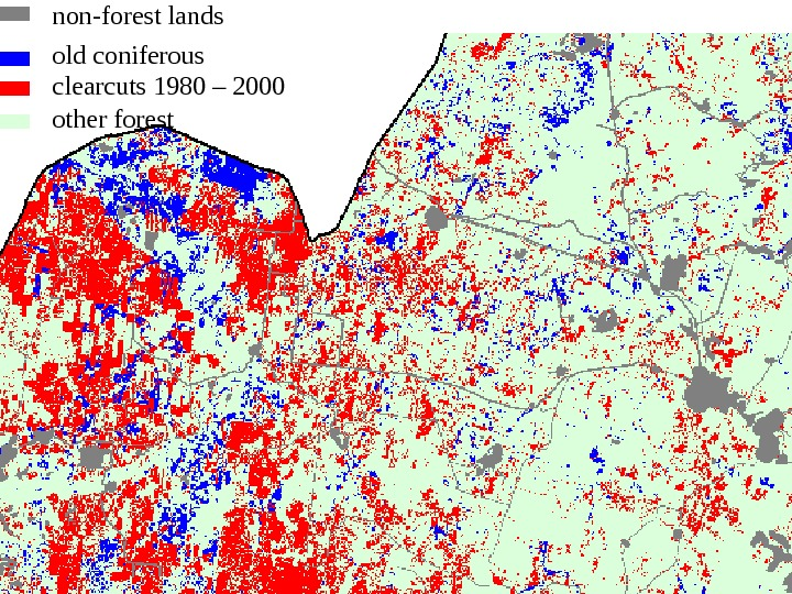 non-forest lands clearcuts 1980 – 2000 other forestold coniferous