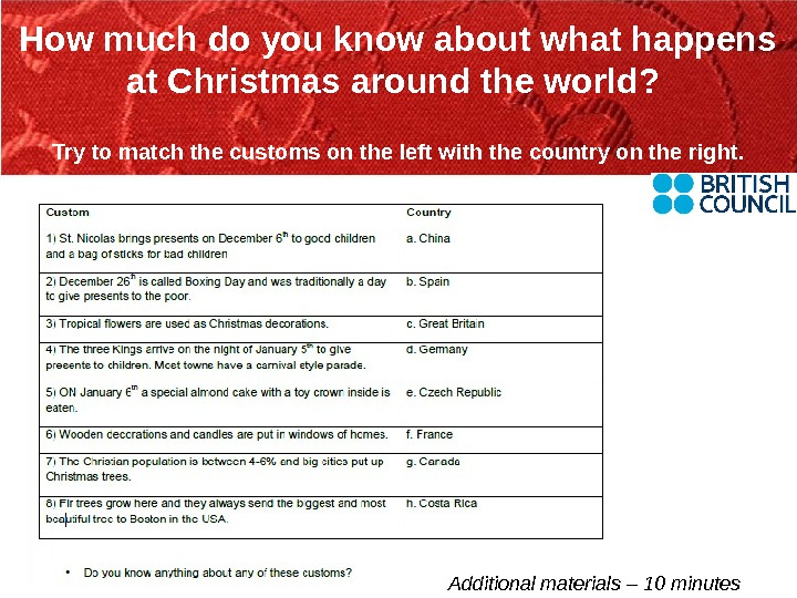 How much do you know about what happens at Christmas around the world?  Try to