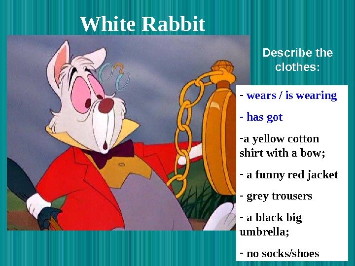 White Rabbit  -  wears / is wearing -  has got -