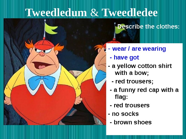 Tweedledum  & Tweedledee  - wear / are wearing  - have got