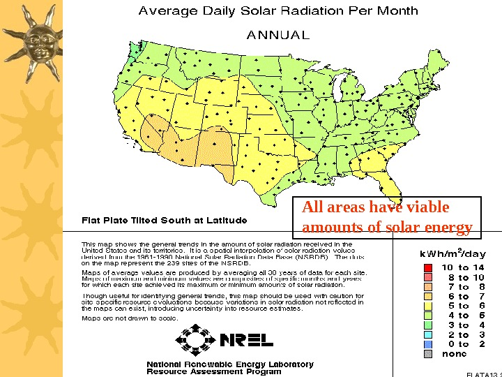 All areas have viable amounts of solar energy