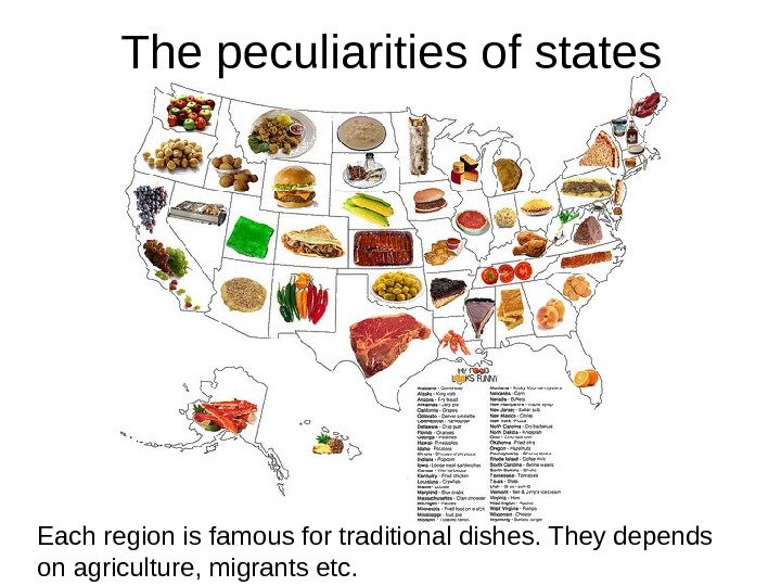 The peculiarities of states Each region is famous for traditional dishes. They depends on