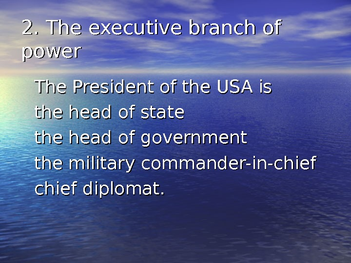 2. The executive branch of power The President of the USA is the head