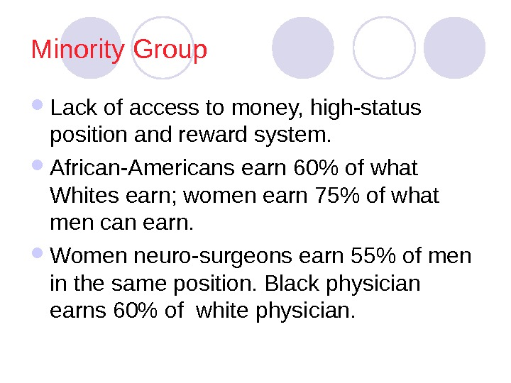 Minority Group Lack of access to money, high-status position and reward system.  African-Americans