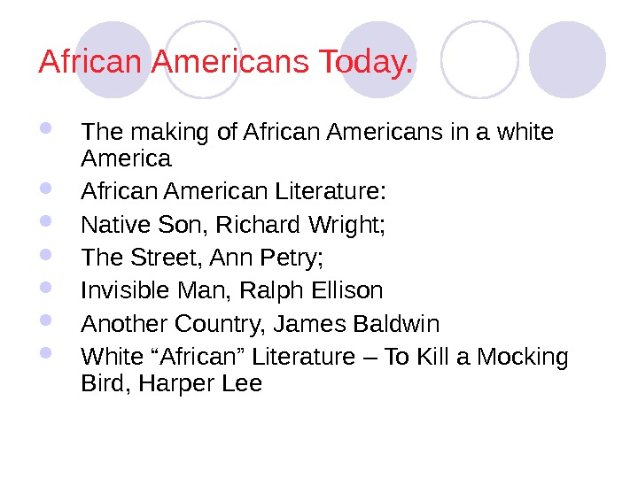 African Americans Today.  The making of African Americans in a white America African