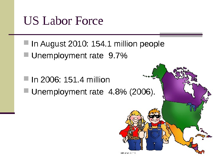 US Labor Force  In August 2010: 154. 1 million people Unemployment rate 9.