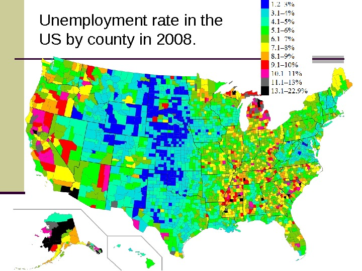 Unemployment rate in the US by county in 2008.