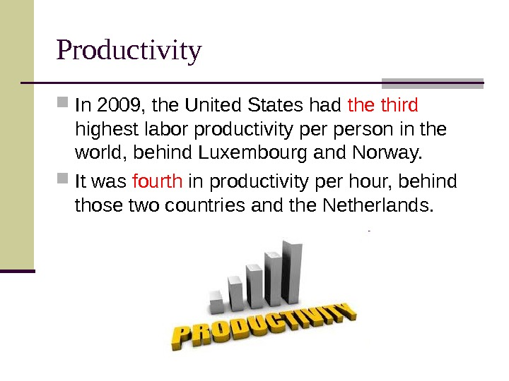 Productivity In 2009, the United States had the third  highest labor productivity person