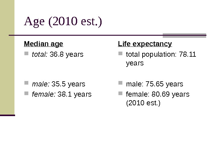 Age (20 10 est. ) Median age total:  36. 8 years  male: