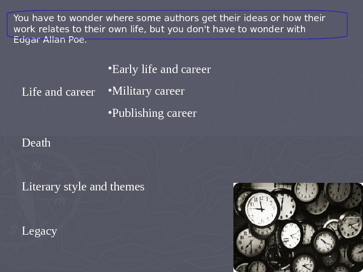 Life and career  Death    Literary style and themes
