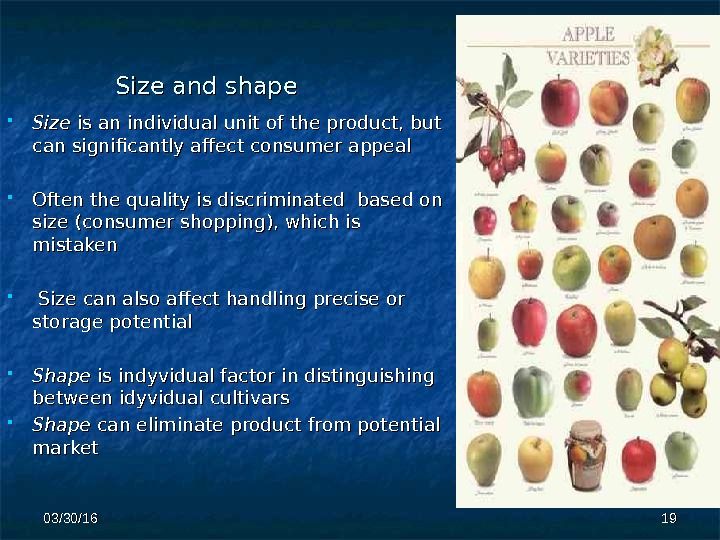 Size and shape Size is an individual unit of the product, but can significantly affect consumer