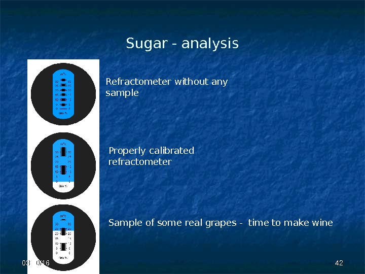 Sugar - analysis Refractometer without any sample Properly calibrated  refractometer Sample of some real grapes
