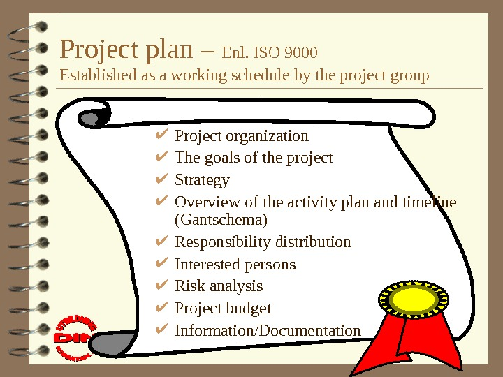 Project plan – Enl. ISO 9000 Established as a working schedule by the project